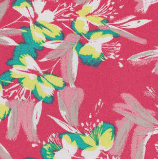 Coral Tropical Floral Rayon Faile