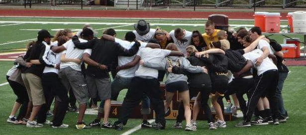May 5, 2012: The MU men's and women's track & field teams huddle together for the final time in their history.