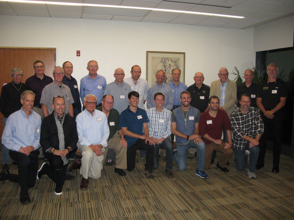 Athletes and coaches from the inaugural men's reunion, held October 14, 2017