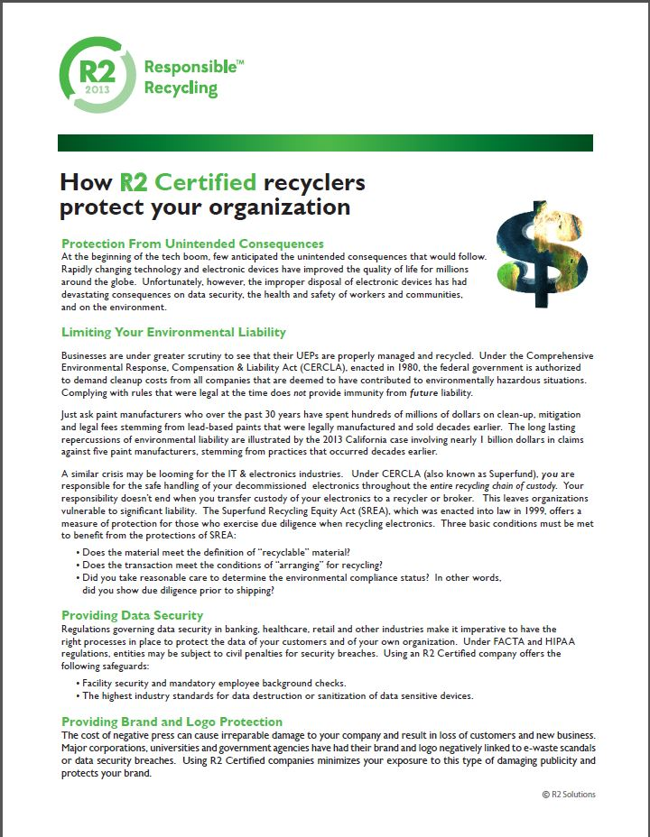 How R2 certified recyclers protect your organization ?
