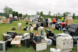 ELECTRONICA -- Wayne Campbell of Newport snapped this photo of volunteers organizing TVs and other electronics at the Keep Perry County Beautiful recycling event on May 20.