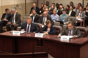 Lawmakers hear testimony from Ned Eldridge of eLoop (left), Michele Nestor of Nestor Resources and Bob Bylone of the Pennsylvania Recycling Markets Center.