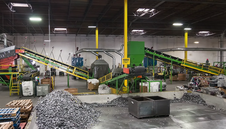 The inside of an e-waste recycling facility.