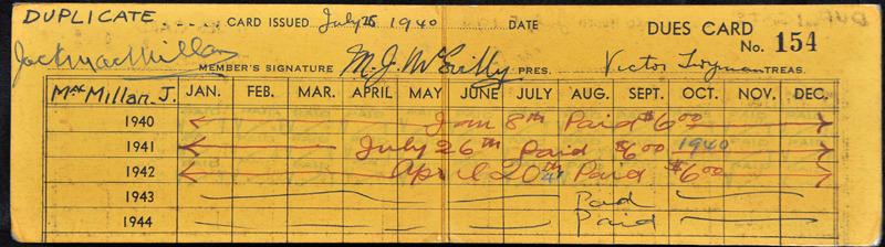 1940 Dues Card