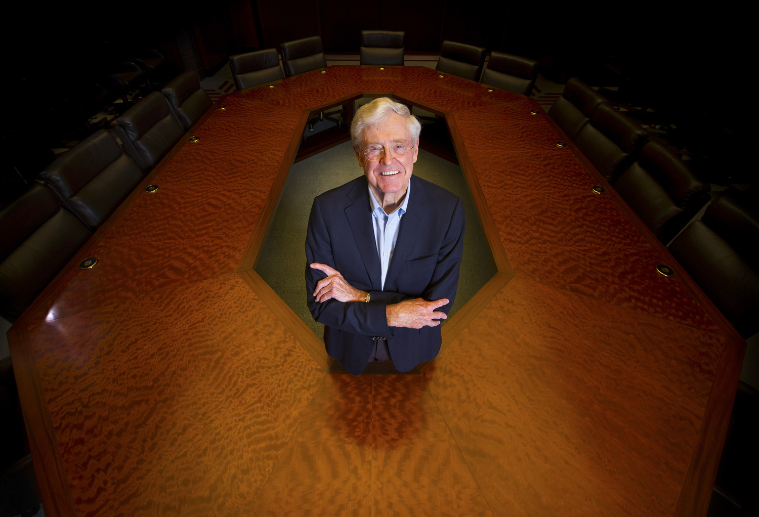 4/21/15 11:01:58 AM -- Wichita, KS, U.S.A  -- Charles Koch, chairman and CEO of Koch Industries, Inc., the second-largest private company in America. He and his brother, David Koch, are well-known contributors to conservative and libertarian political causes. Photographed in his boardroom in Wichita, Kansas
