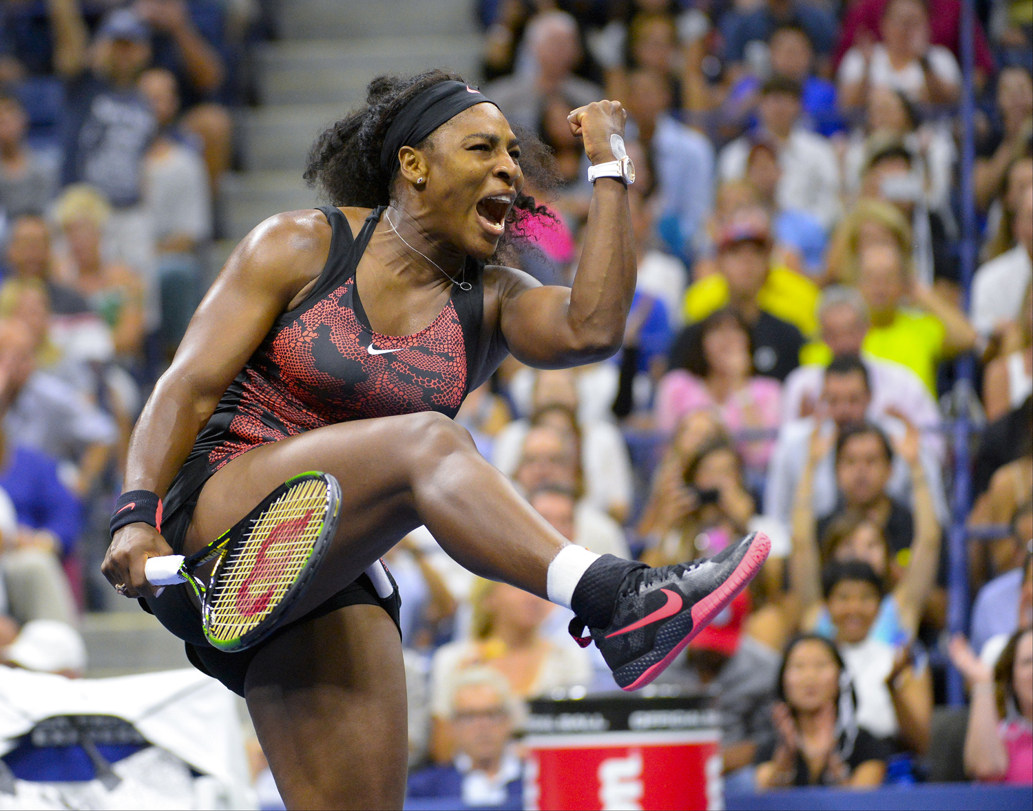 Sep 4, 2015; New York, NY, USA; Serena Williams of the USA after beating  Bethanie Mattek-Sands of the USA on day five of the 2015 U.S. Open tennis tournament at USTA Billie Jean King National Tennis Center.