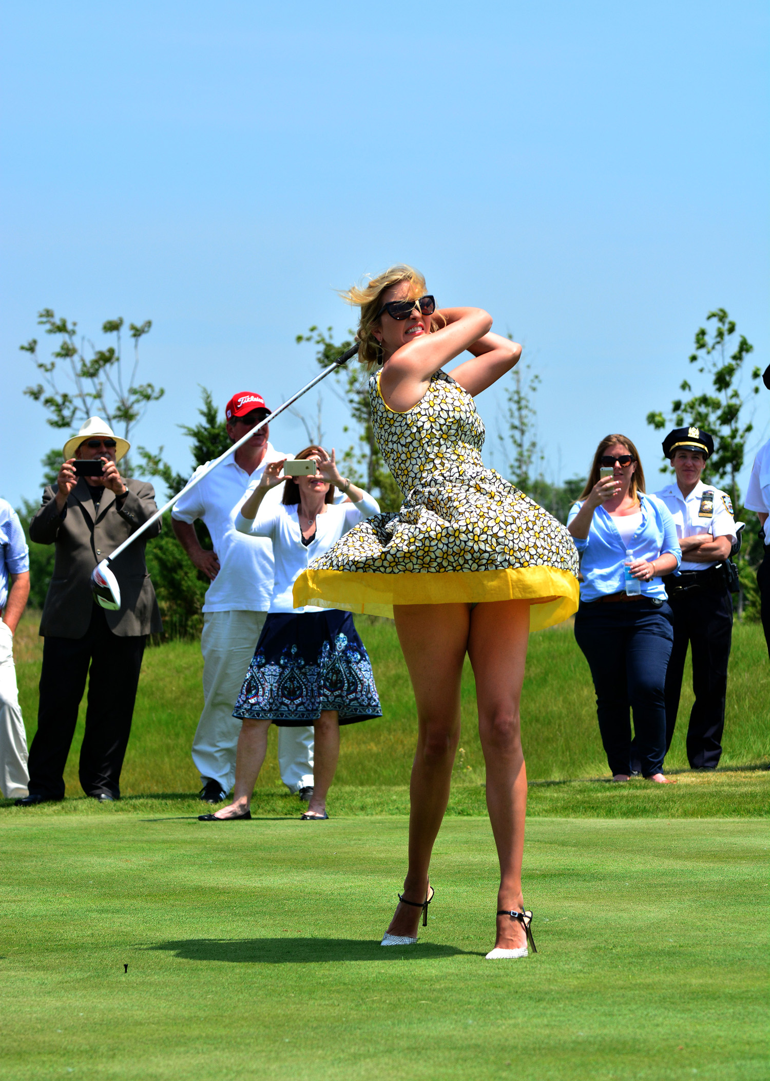Ivanka Trump on the 18th hole at the opening of Trump Golf Links in Ferry Park after speeches by her daddy and links designer Jack Nicklaus.  Bronx, NY May 26, 2015.
