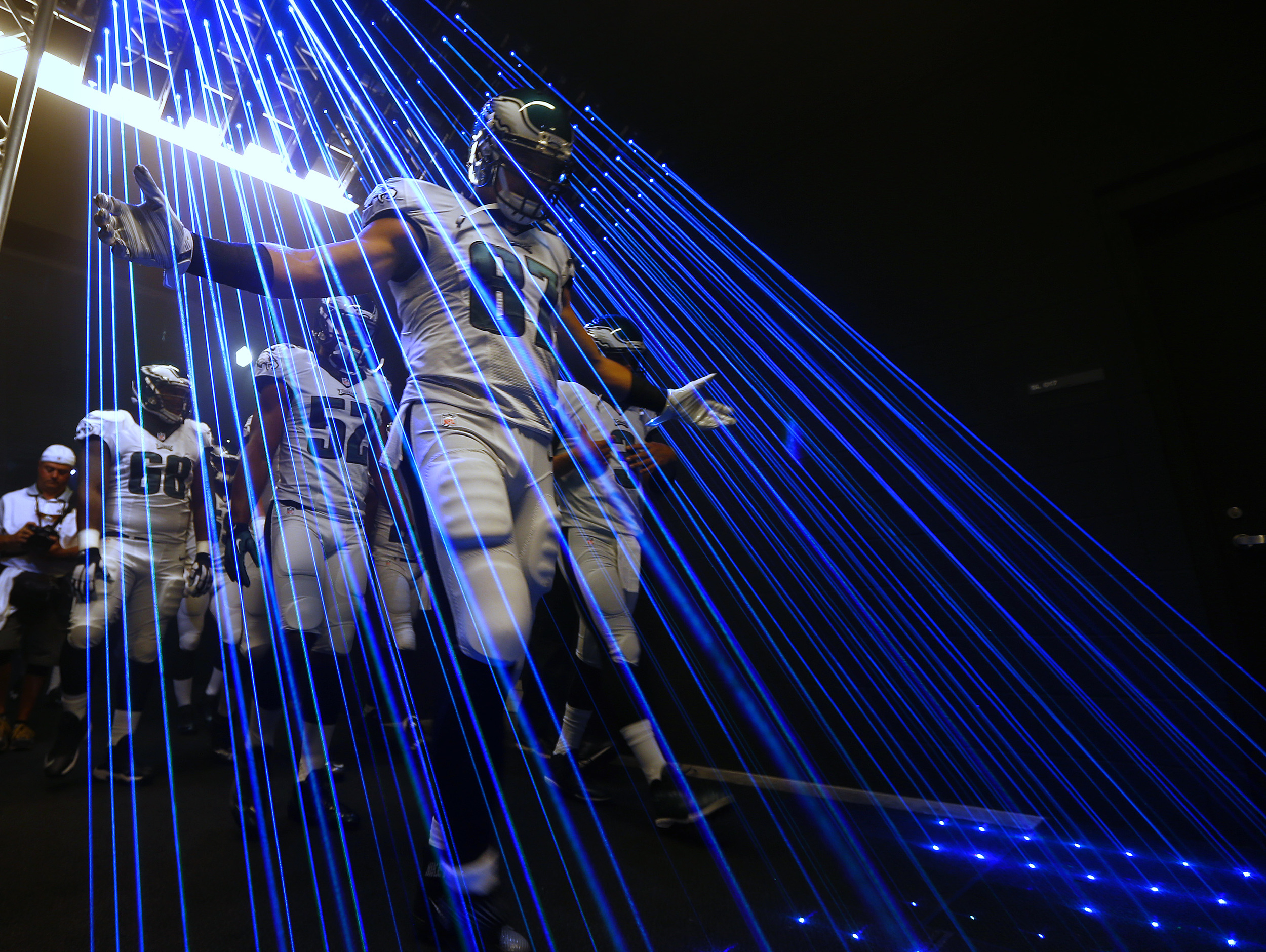PHILADELPHIA, PA - SEPTEMBER 20: Brent Celek #87 of the Philadelphia Eagles leads his team out of the tunnel before a football game against the Dallas Cowboys at Lincoln Financial Field on September 20, 2015 in Philadelphia, Pennsylvania.