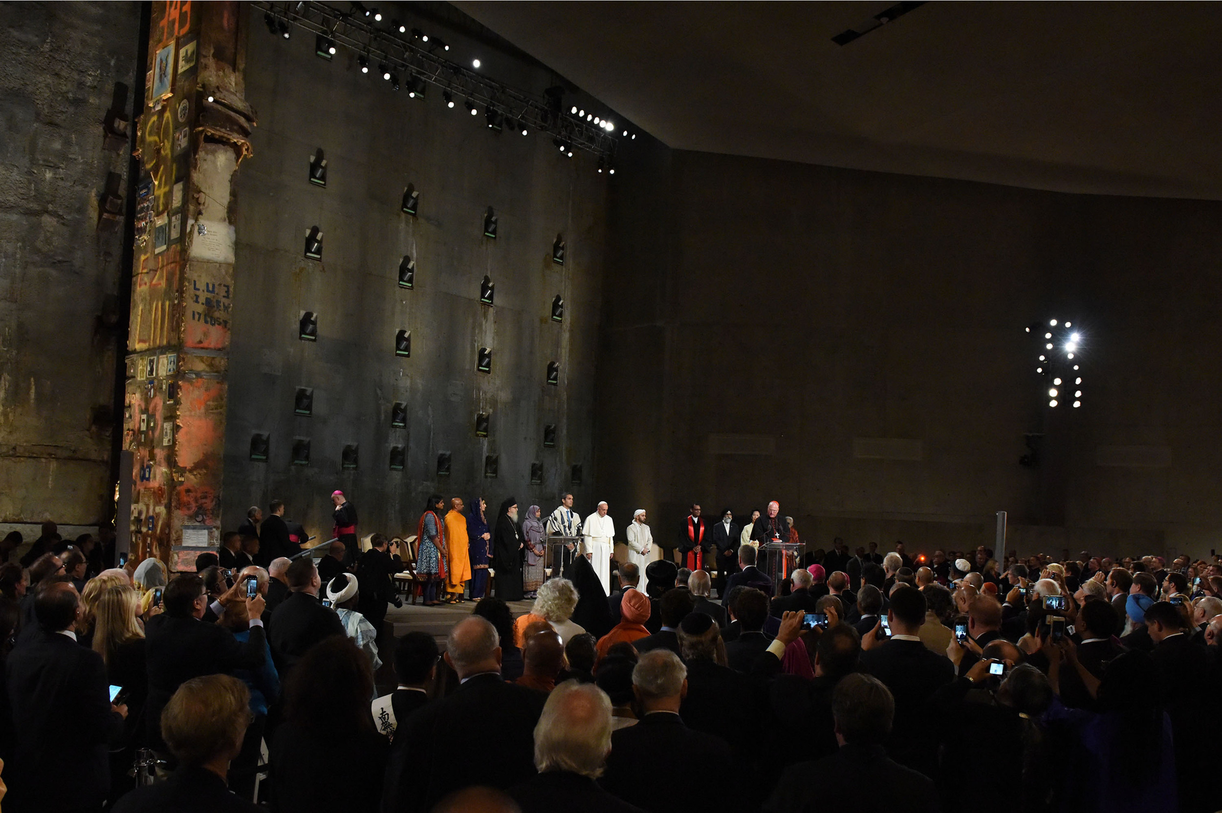 """The  """"Multi-Religious Gathering With Pope Francis""""  was held Friday morning September 25, 2015 at the """"National September 11 Memorial and Museum"""".  The service included clergy from many different faiths who sat on the stage and presented readings during the service."""