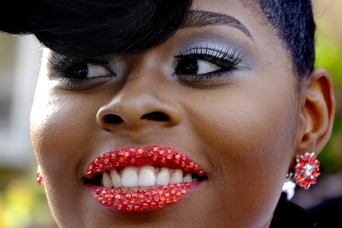 Dazel Lips - A girl at the Irvington High School has her lips decorated with glass beads during her prom. Wednesday May 20, 2015. Clark, NJ, USA