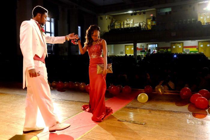 Sendoff Dance -A couple perform a sendoff dance at Irvington High School prior to their prom at the Gran Centurion Ballroom in Clark. Wednesday May 20, 2015. Clark, NJ, USA