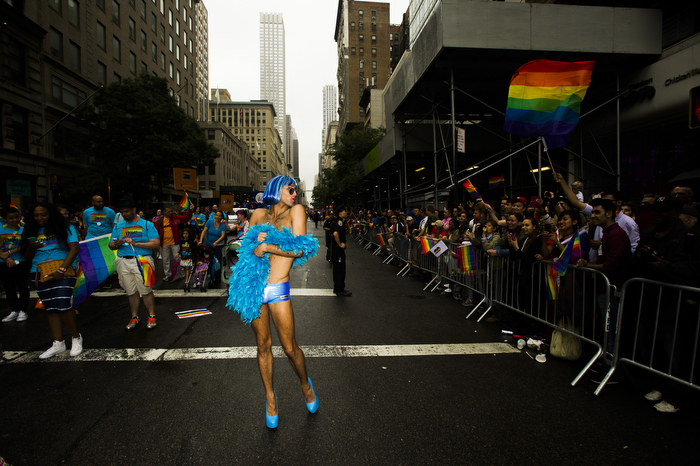 marchers enjoy and share their joy at NYC Pride Parade 2015, Sunday June 28, 2015 in Manhattan