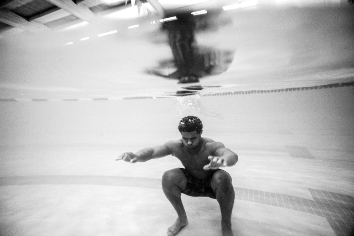 Josh McKenzie holds his breath under water during an intense aquatic workout at The Atlantic Club in Wall Township.