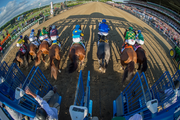 Horses break from the gate at the start of the race as American Pharoah with Victor Espinoza up, center left,  and trained by Bob Baffert, wins the 147th running of the Belmont Stakes, Grade I - $1,500,000, and is now Triple Crown winner, Belmont Park, Saturday June 6, 2015.
