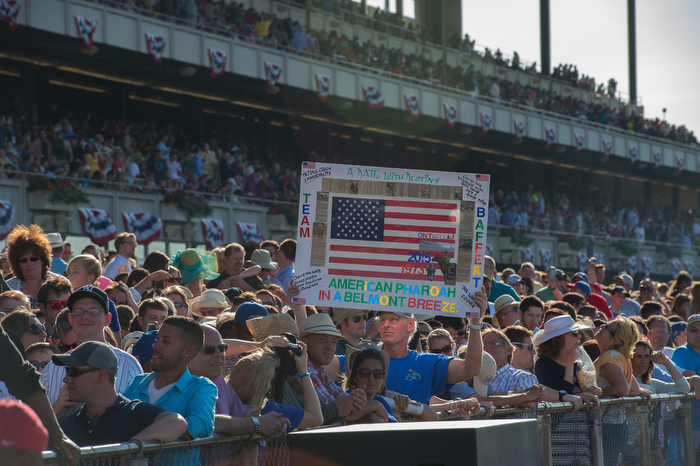 A fan holds up a sign as American Pharoah with Victor Espinoza up and trained by Bob Baffert wins the 147th running of the Belmont Stakes, Grade I - $1,500,000, and is now Triple Crown winner, Belmont Park, Saturday June 6, 2015.