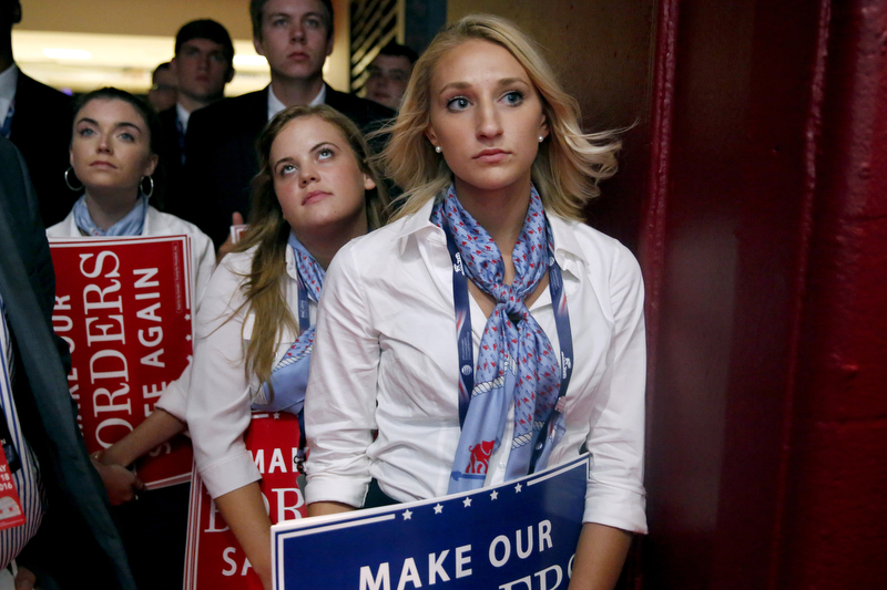 Members of the Young Republicans who help run the convention listen to the speakers during the 2016 Republican National Convention in Cleveland.  Monday July 18, 2016. Cleveland, OH, USA   