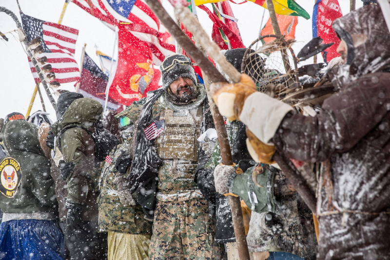 Exhibit AwardGabriella Bass/FreelanceNO TITLEAnti-pipeline protesters march in a blizzard at Standing Rock, North Dakota on December 5, 2016.
