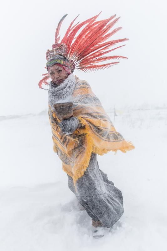 Exhibit AwardGabriella Bass/FreelanceNO TITLEAn anti-pipeline protester marches in a blizzard at Standing Rock, North Dakota on December 5, 2016.