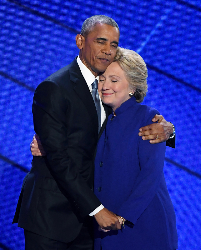 Second PlacePatrick Benic/United Press InternationalPRESIDENTIAL HUGPresident Barack Obama hugs Democratic Candidate Hillary Clinton on stage during day three of the Democratic National Convention at the Wells Fargo Center in Philadelphia, Pennsylvania on July 27, 2016.