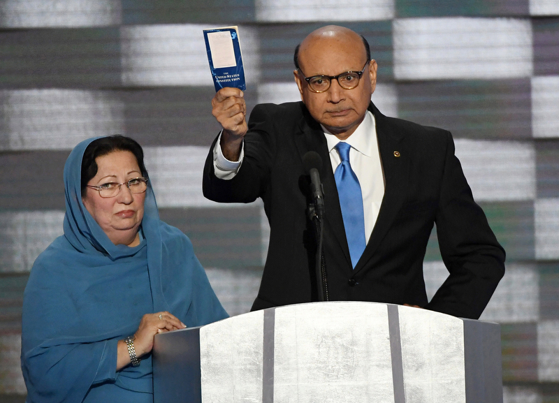 Exhibit AwardPatrick Benic/United Press InternationalKHAN HOLDS COPY OF CONSTITUTION AT CONVENTIONKhizr Khan, whose son Captain Humayun Khan was killed in Iraq, holds a copy of the U.S. Constitution as he addresses delegates on day four of the Democratic National Convention at Wells Fargo Center in Philadelphia, Pennsylvania on July 28, 2016.