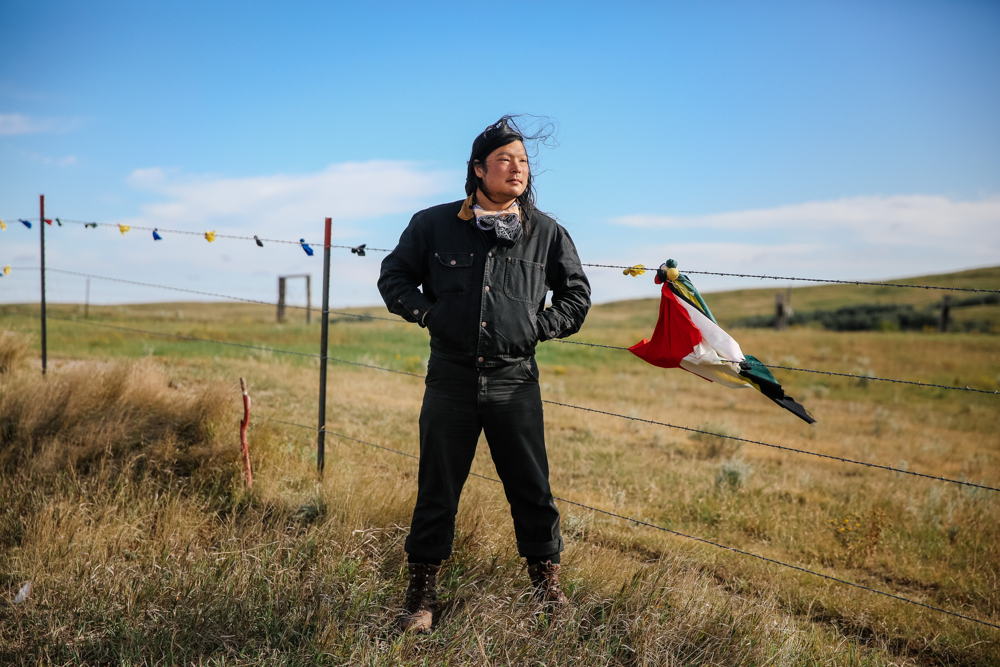 September 15, 2016: Cannonball, ND - Dessa, a nomad, near the Front Line camp. Hundreds gathered to form a protest camp named Oceti Sakowin, led by the Standing Rock Sioux tribe to protest the Dakota Access Pipeline.