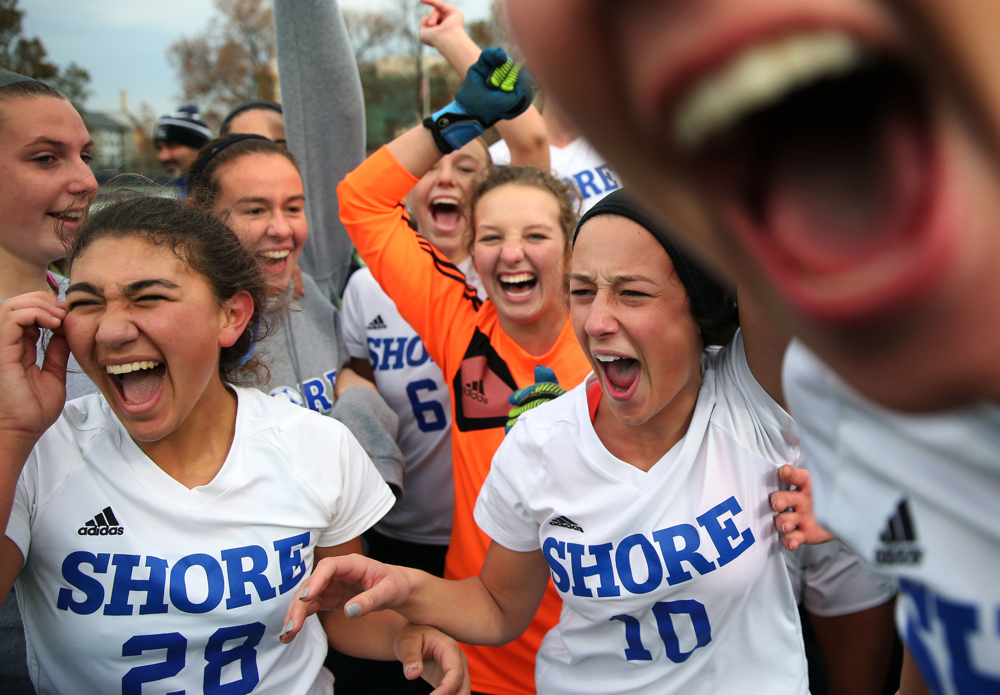 Shore Regional soccer players celebrate their dramatic 5-4 victory over Glen Ridge in the NJSIAA Group 1 Public finals at Kean University. 11/18/17 Union, N.J.