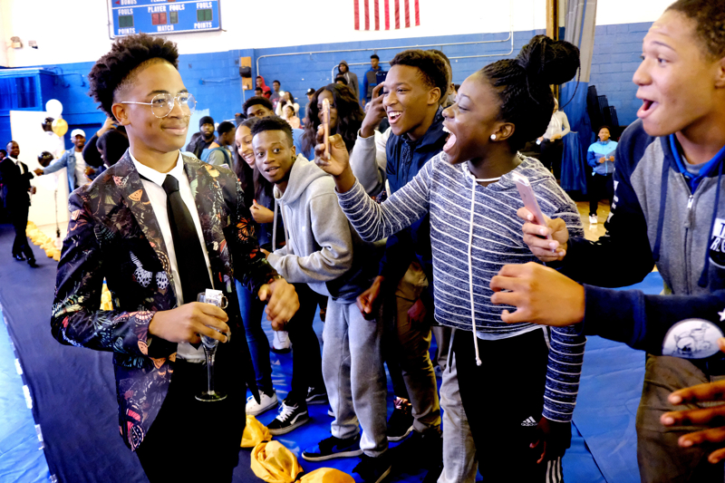 Walk Off at School  - Irvington High School has their 2017 prom at Ariana's Grand with students dancing to music of DJ SonicBoom. Before the prom the students had a walk off and toast at the high school. Thursday May 25, 2017. Rahway, NJ, USA