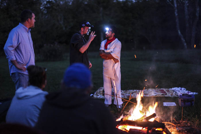 """Recovering opioid addict Neal Catlett, of Lexington, Kentucky, during a """"healing ceremony""""  with """"shaman/sitter"""" Madhu in Lexington on October 18, 2017. Catlett, who wants to start a church using the substance, as well as a growing contingent of users, believe the venom can help with reducing and ultimately overcoming many forms of addiction, depression, PTSD and anxiety."""