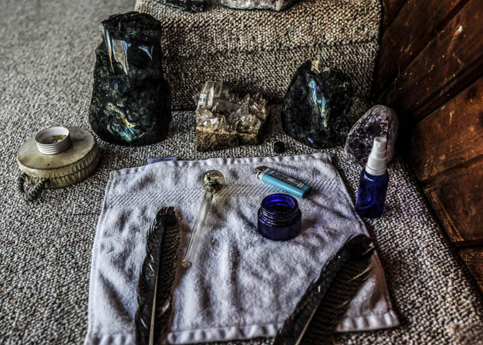 "Bufo and pipe and other items during a ""healing ceremony""  with ""shaman/sitter"" Madhu in Lexington on December 13, 2017. Neal Catlett, who wants to start a church using the substance, as well as a growing contingent of users believe the venom can help with reducing and ultimately overcoming many forms of addiction."