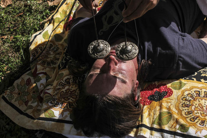 "Brent Owens has his ""chakras aligned"" while under the influence of bufo alvarius the toad venom during a ceremony in Lexington, Kentucky, on October 18, 2017. Neal Catlett, who wants to start a church using the substance, as well as a growing contingent of users believe the venom can help with reducing and ultimately overcoming many forms of addiction."