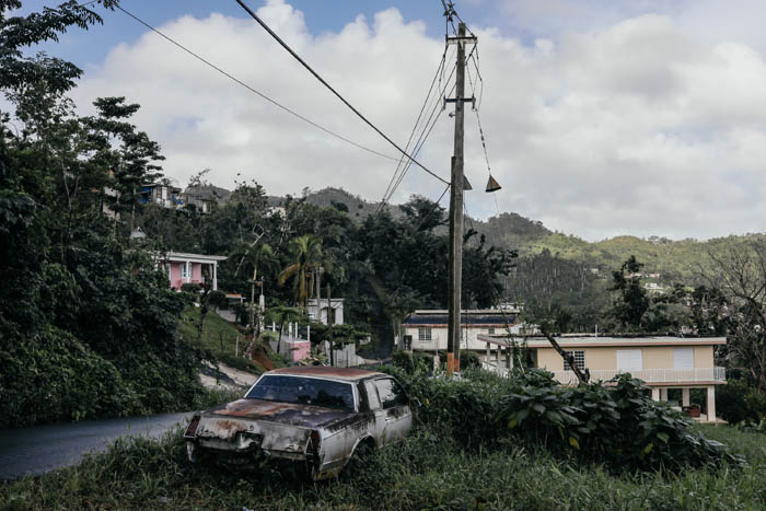 February 12, 2018: Naranjito, Puerto Rico -  An abandoned car in the hills of Naranjito.  Nearly 5 months after Hurricane Maria reached the island around 1/3 of Puerto Rico is still without power.  After a catastrophic hurricane, rates of mental illness continue to rise.