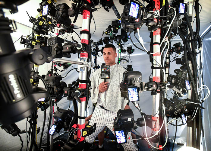 "New York Yankees Giancarlo Stanton get digitally scanned for the video game ""MLB The Show"" during Spring Training Photo Day at George M. Steinbrenner Field on the morning of Feb. 21, 2018"