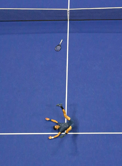 QUEENS  NY.  - SEPTEMBER 9, 2018: Novak Djokovic celebrated after he won vs. Juan Martin del Potro in the men's singles final of the US Open at Arthur Ashe Stadium in Queens, New York.