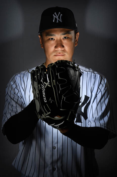 Studio portrait of New York Yankees Pitcher Masahiro Tanaka during Spring Training Photo Day 2018 at George M. Steinbrenner Field on the morning of Feb. 21, 2018
