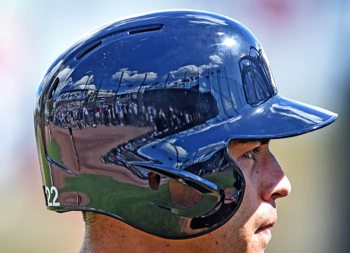 The crowd at George M. Steinbrenner Field is reflected in the batting helmet of Jacoby Ellsbury during Yankee Spring Training in Tampa Florida. Feb. 20, 2018