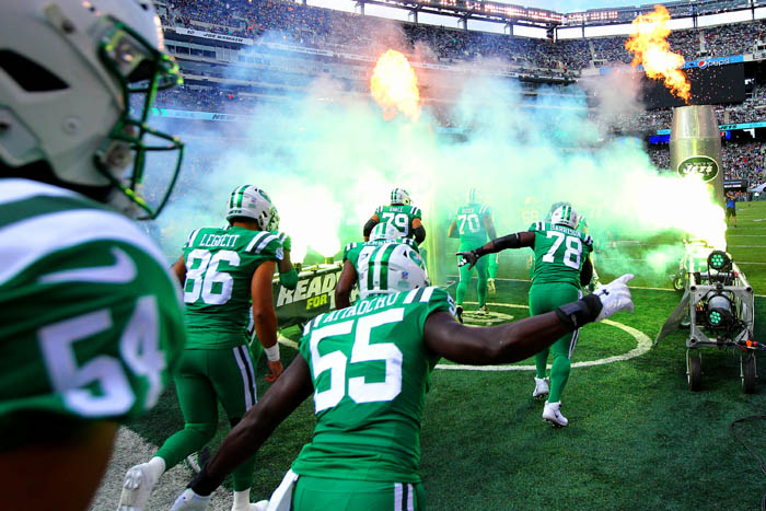 Oct 21, 2018; East Rutherford, NJ, USA; The New York Jets take the field before a game against the Minnesota Vikings at MetLife Stadium.