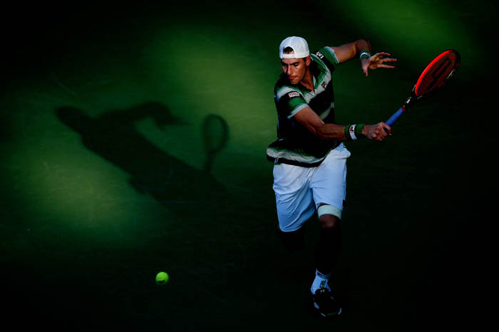 Top tennis players from around the world compete in the 2018 US Open Championships from Monday, August 27 through Sunday, September 9 at the USTA Billie Jean King National Tennis Center in Queens. John Isner plays a ball on day 3.