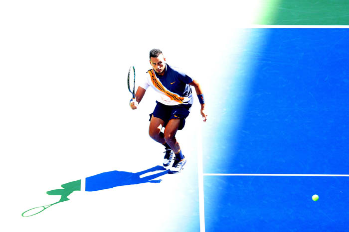 Top tennis players from around the world compete in the 2018 US Open Championships from Monday, August 27 through Sunday, September 9 at the USTA Billie Jean King National Tennis Center in Queens. Nick Kyrgios plays a ball on day 6.