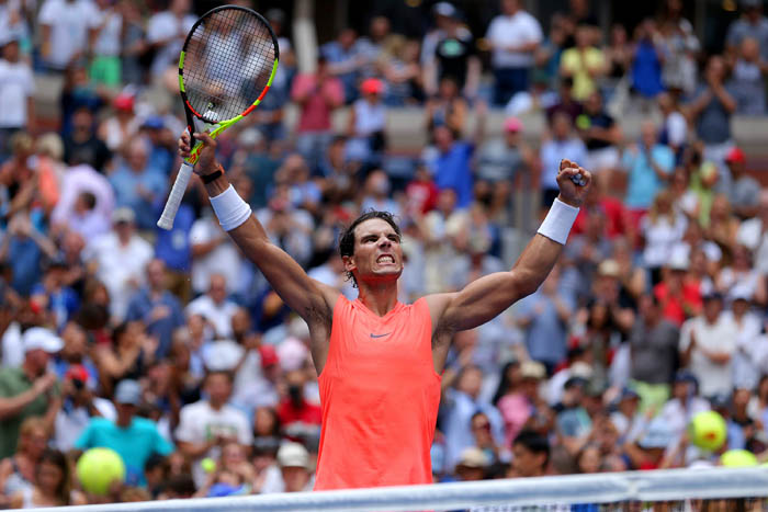 Top tennis players from around the world compete in the 2018 US Open Championships from Monday, August 27 through Sunday, September 9 at the USTA Billie Jean King National Tennis Center in Queens. Rafael Nadal reacts on day 7.