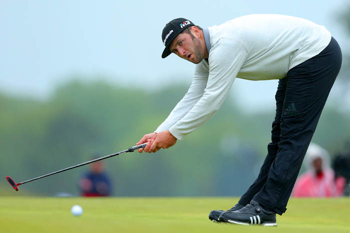 Top golfers from around the world compete in the 2018 US Open from Thursday, June 14 through Sunday, June 17 at Shinnecock Hills Golf Club in Southampton, NY. John Rahm reacts to a putt on the fourth green during round 2.