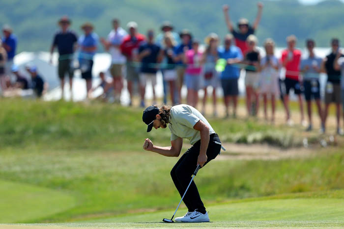 Top golfers from around the world compete in the 2018 US Open from Thursday, June 14 through Sunday, June 17 at Shinnecock Hills Golf Club in Southampton, NY. Tommy Fleetwood reacts after his putt on the fourteenth green during the final round.