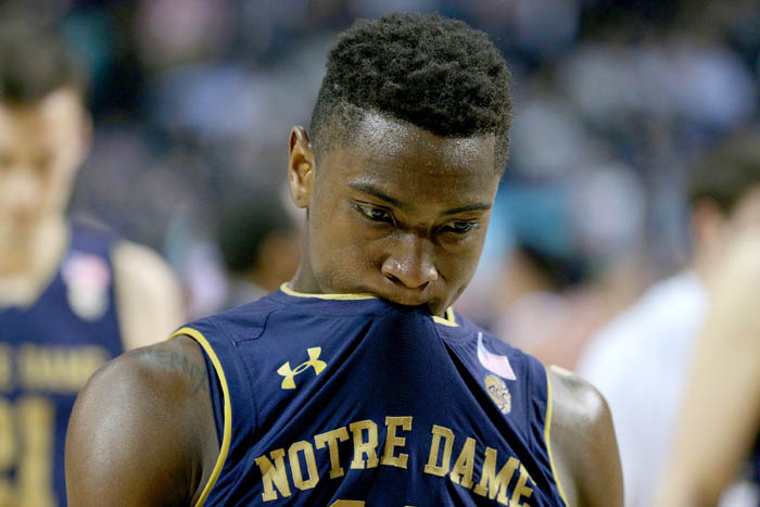 Fifteen teams competed in the 2018 Atlantic Coast Conference Tournament from Tuesday, March 6 through Saturday, March 10 at the Barclays Center in Brooklyn, NY. Notre Dame Fighting Irish guard TJ Gibbs (10) reacts after losing to the Duke Blue Devils in a quarterfinal game.