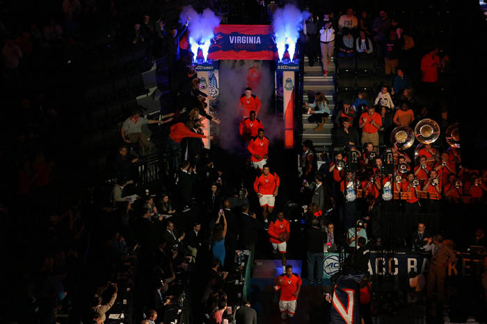Fifteen teams competed in the 2018 Atlantic Coast Conference Tournament from Tuesday, March 6 through Saturday, March 10 at the Barclays Center in Brooklyn, NY. The Virginia Cavaliers take the court before playing the North Carolina Tar Heels in the championship game.