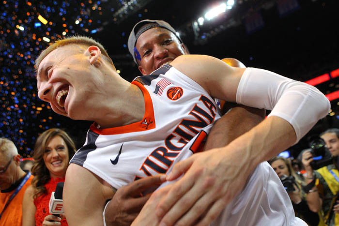 Fifteen teams competed in the 2018 Atlantic Coast Conference Tournament from Tuesday, March 6 through Saturday, March 10 at the Barclays Center in Brooklyn, NY. Virginia Cavaliers guards Kyle Guy (5) and Devon Hall (0) celebrate after defeating the North Carolina Tar Heels in the championship game.