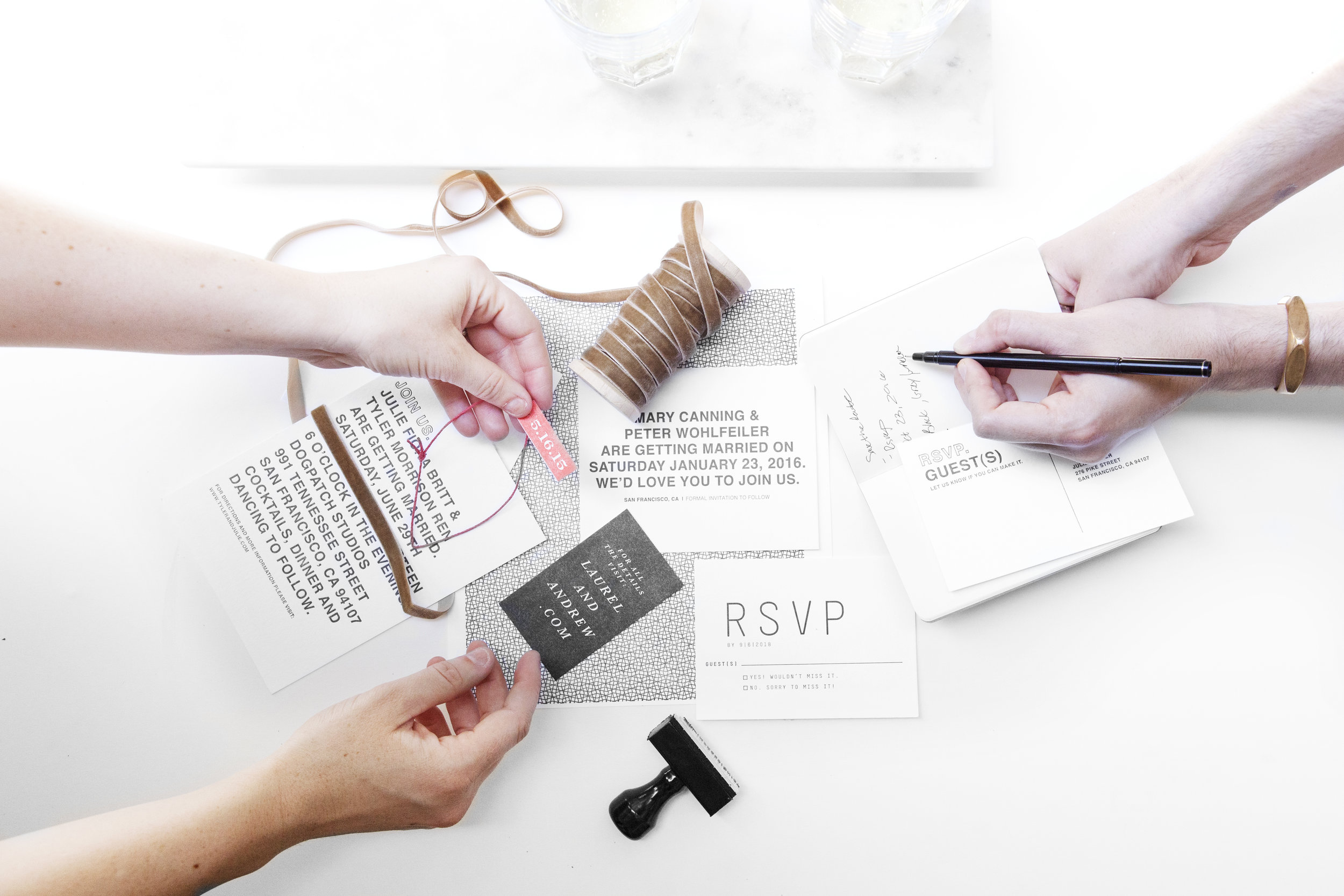 Our Invitation & Stationery planning consultations are hands on. We won't just be looking through albums of designs. We will be pulling your story together by mixing and matching many different visual elements.