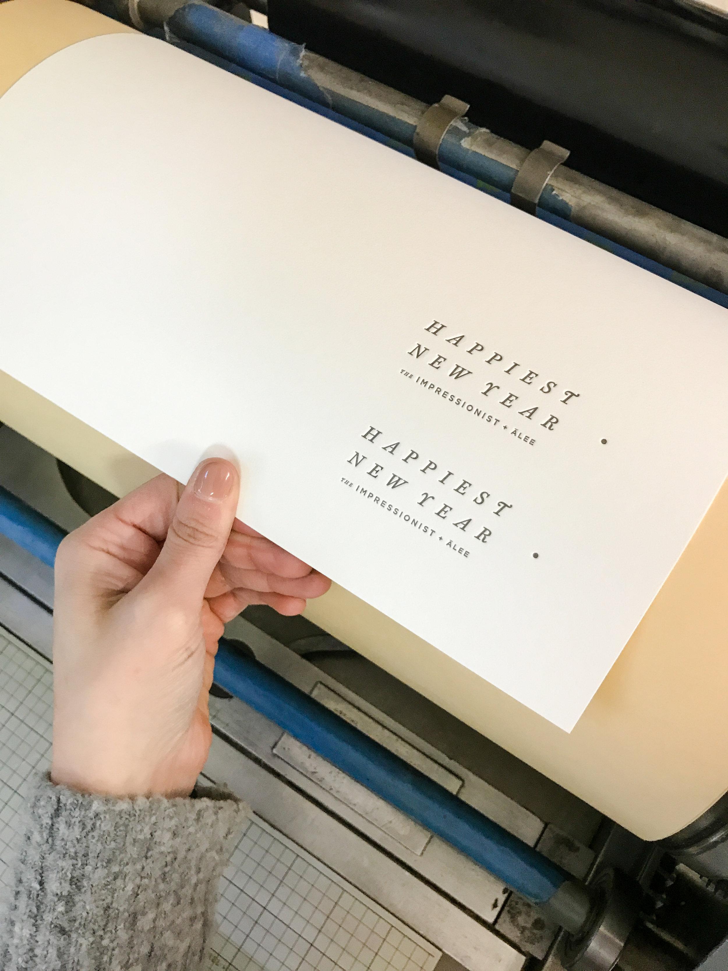 Vandercook letterpress printer with polymer plate. Holiday Card printing.
