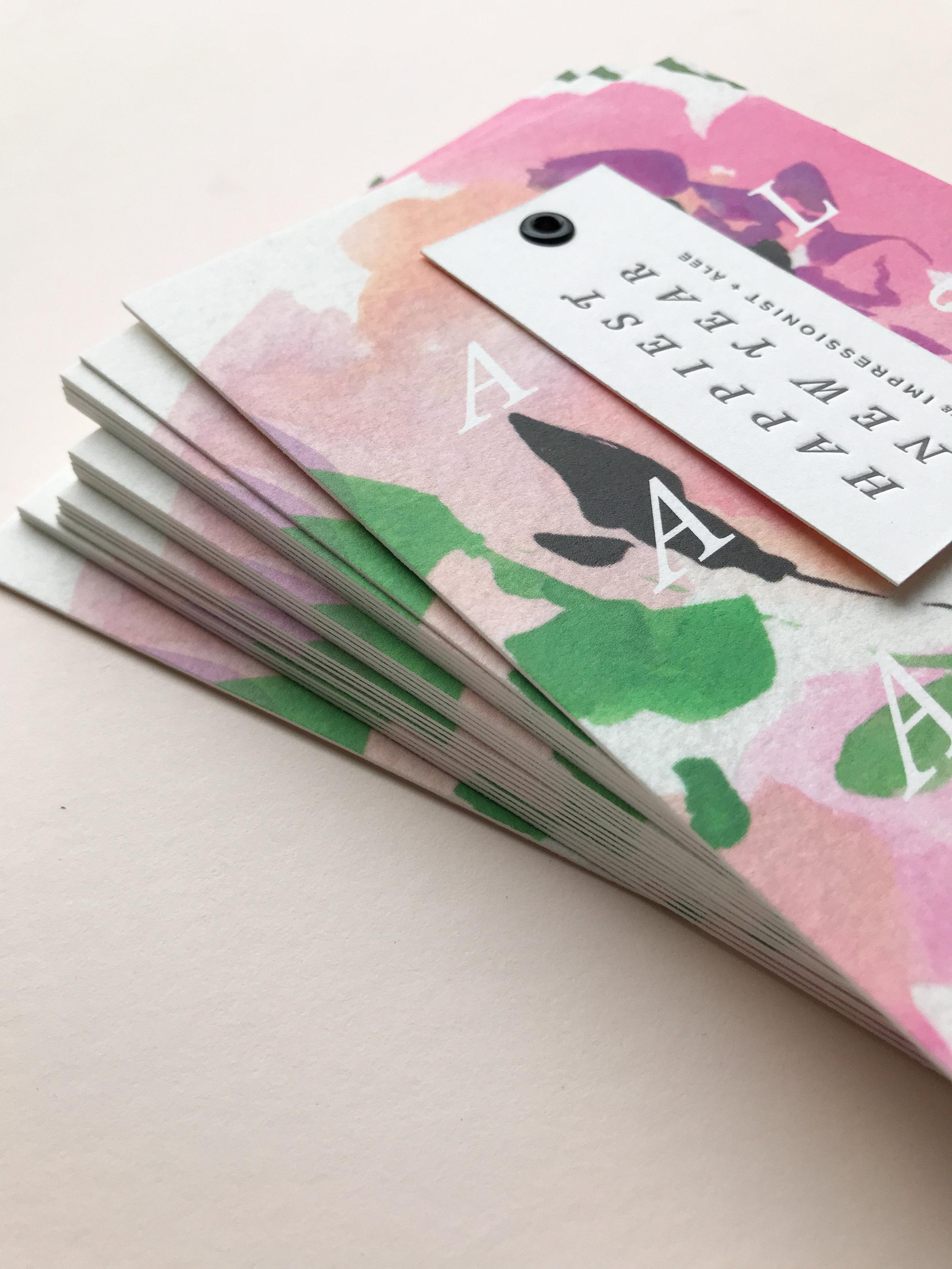 Stack of letterpress printed + flat printed cards.