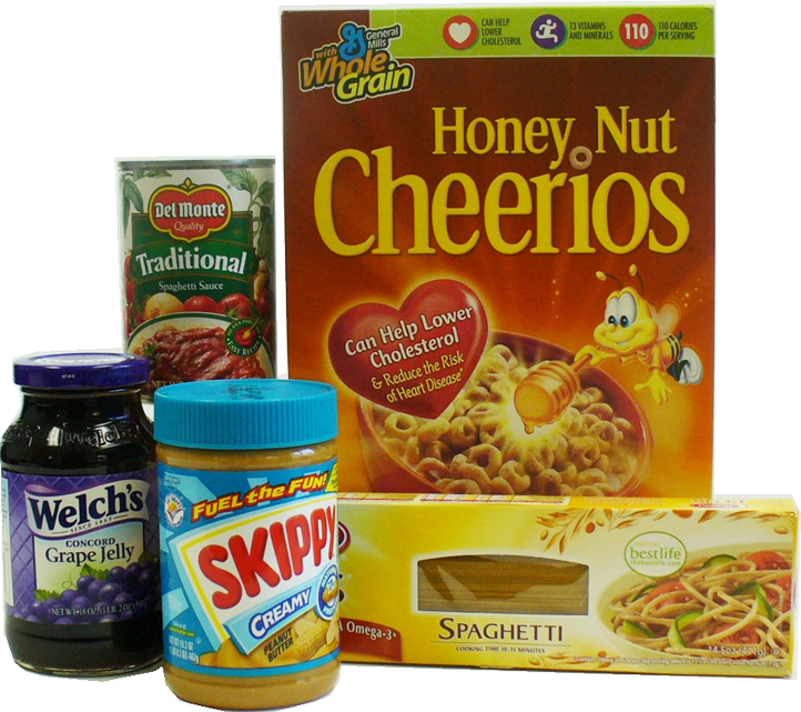 Emergency Bags contain a variety of nonperishable foods (bags will contain foods different than what is shown).