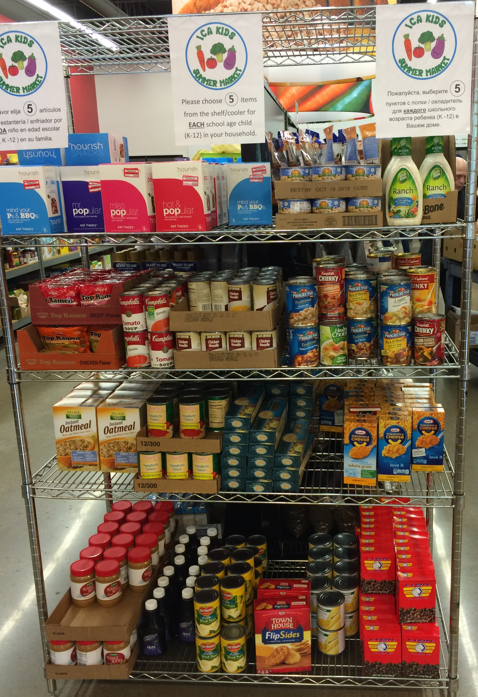 """A sample of some of the """"kid friendly"""" foods available as part of our Summer Food Program."""