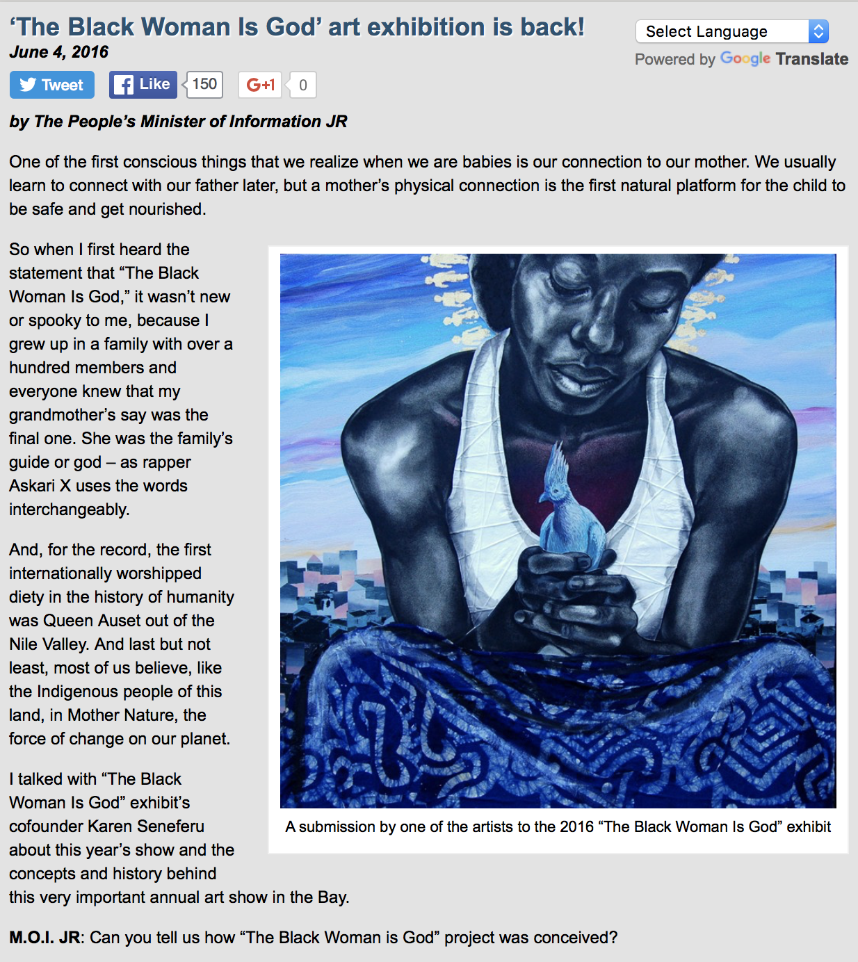 The San Francisco Bay View National Black Newspaper. Art and Culture.  'The Black Woman Is God' Art Exhibition Is Back!    Http://sfbayview.com  . N.p., 4 June 2016. Web. <http://sfbayview.com/2016/06/the-black-woman-is-god-art-exhibition-is-back/>.